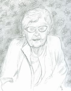 Pencil Portrait of Aunt Pat (89 yrs. old)