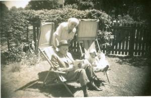 Faddie, Muddie and I in their backyard