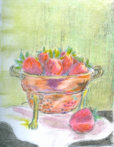 Strawberries in a Copper Colander.