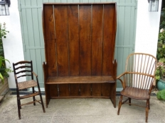 antique settle and chairs
