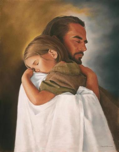 Jesus holding a child in a hug