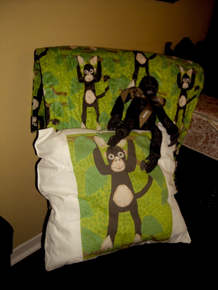 Pillow, quilt and monkey for my grandson