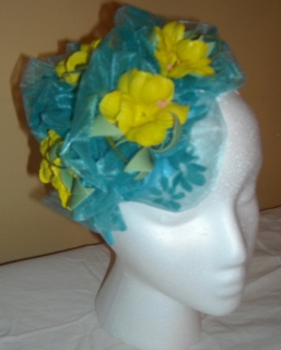 blue and yellow fascinator
