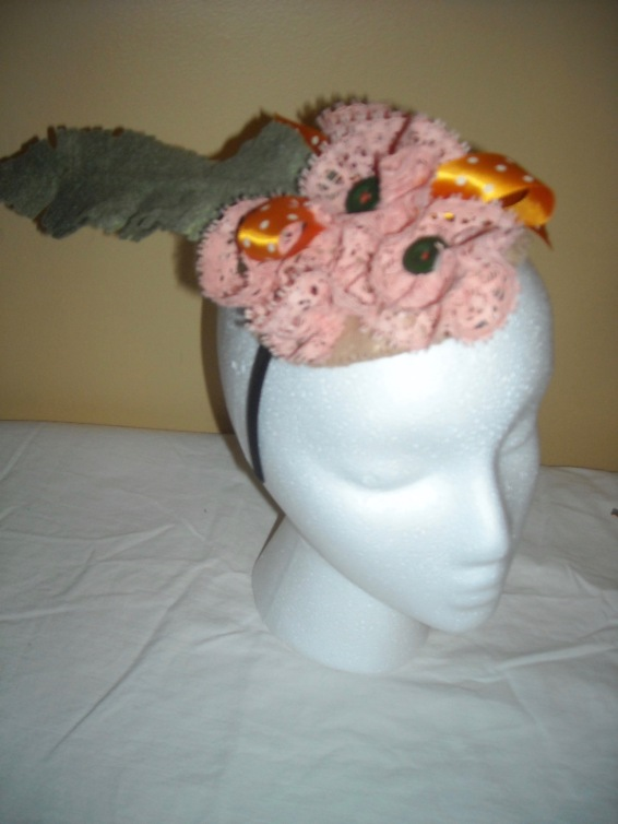 peach and green fascinator