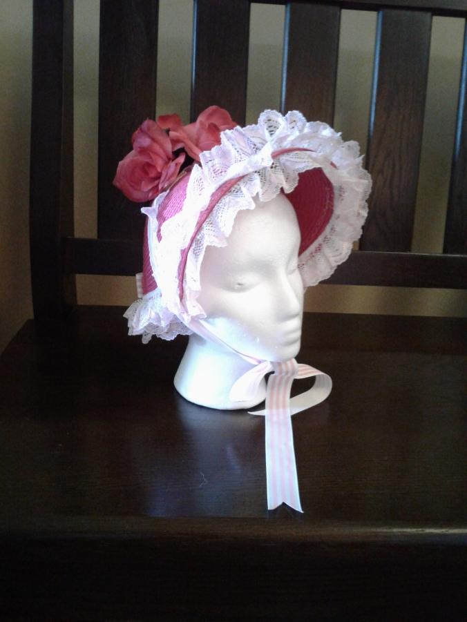 Front of pink bonnet