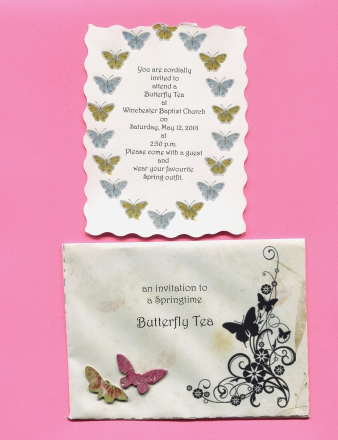 Invitation and envelope for Butterfly Tea