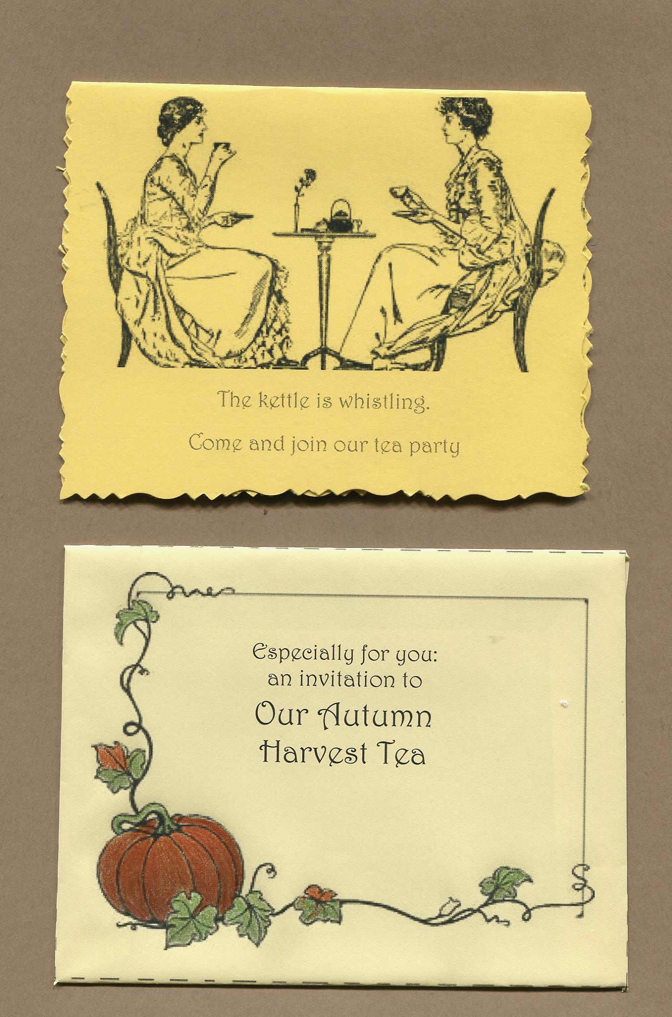 Harvest Tea invitation and envelope