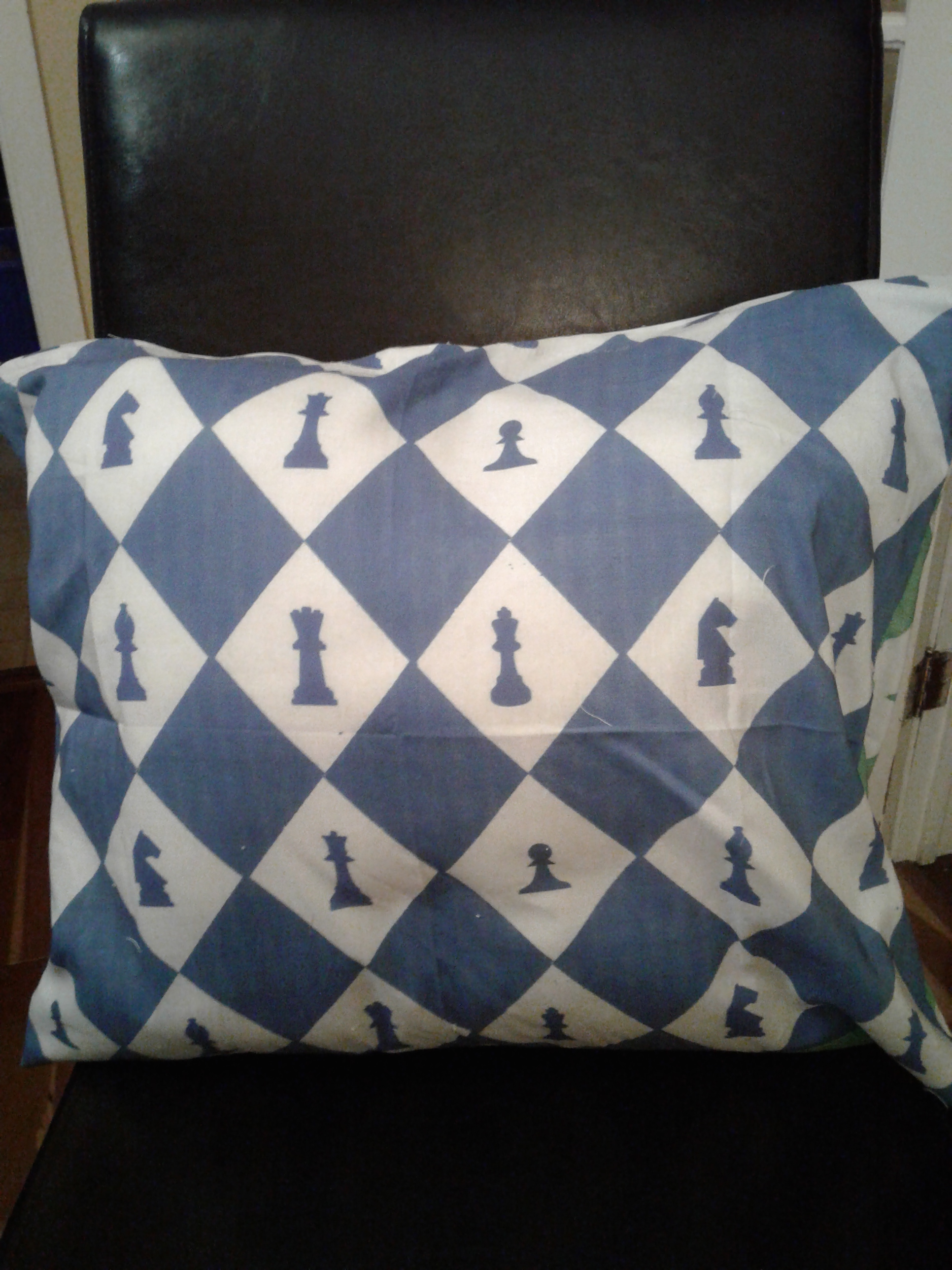 Chess pillow blue and white side