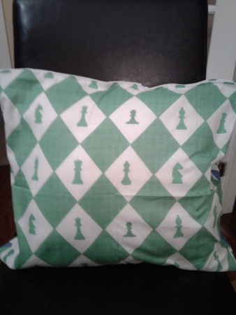 Chess pillow green and white side