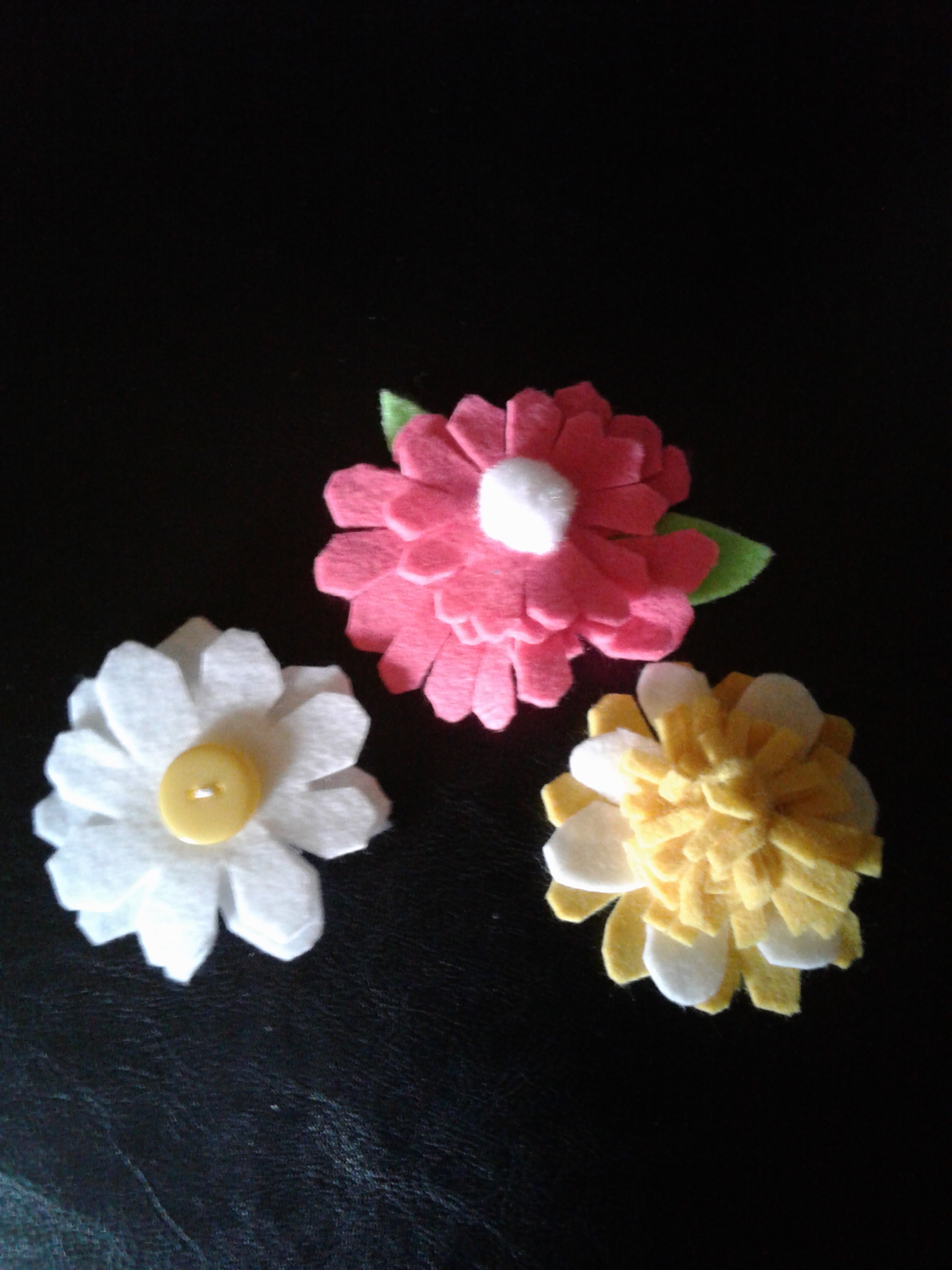 felt flower brooches for Mothers Day